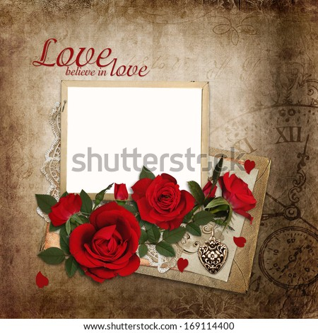 Bouquet of red roses with frame and old letters on vintage background - stock photo