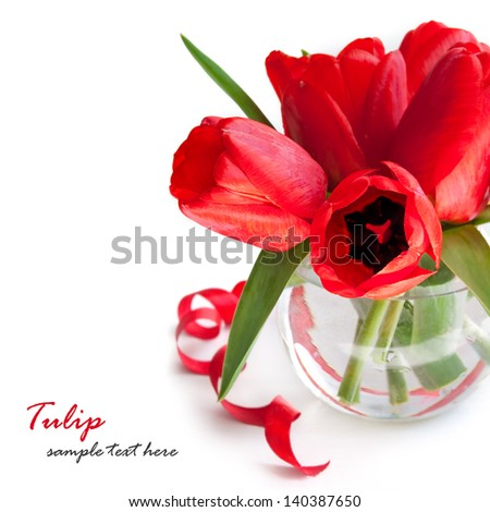 Bouquet of red tulips in the glass on a white background - stock photo