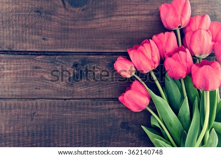 Bouquet of red tulips on a wooden background. Spring flowers. Mother's Day background. - stock photo