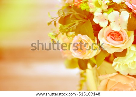 Bouquet of rose flower with soft light