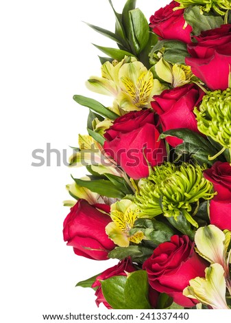 bouquet of rose, green chrysanthemum and orchid with place for text