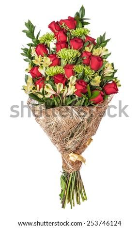 Bouquet of rose, green chrysanthemum and yellow orchid, isolated on the white - stock photo