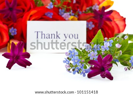bouquet of roses and spring flowers on a white background - stock photo