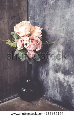bouquet of roses at the corner - stock photo