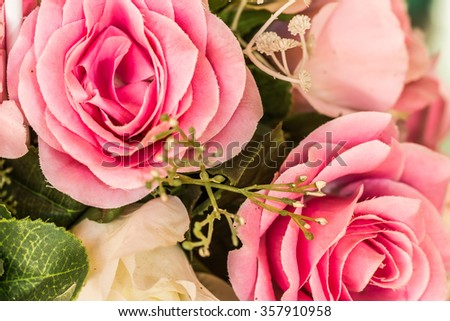 Bouquet of roses flower. Retro filter. - stock photo