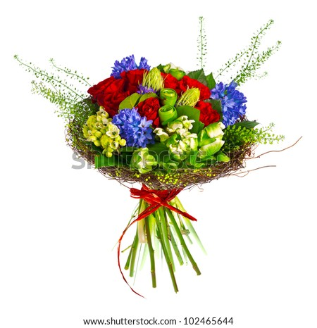 bouquet of roses, hyacinthus and greens - stock photo