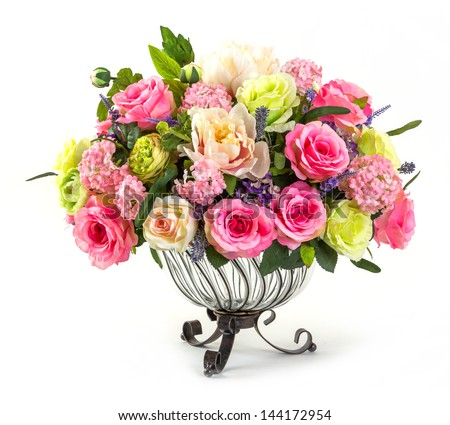 Bouquet of roses hydrangea and orchid in glass vase isolated on white - stock photo