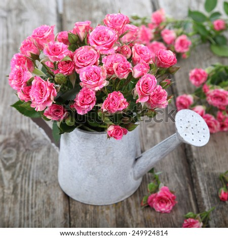 Bouquet of roses in a watering can on a wooden background - stock photo