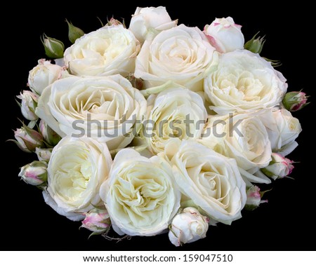Bouquet of Roses Isolated on Black Background - stock photo