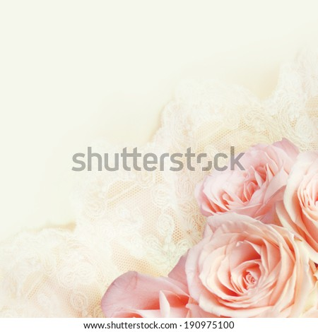 Bouquet of roses on the lace. - stock photo