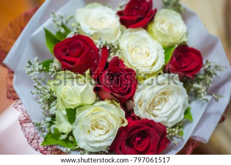 Bouquet of roses on Valentine's Day.This picture is soft focus.This picture is blurry blurred.
