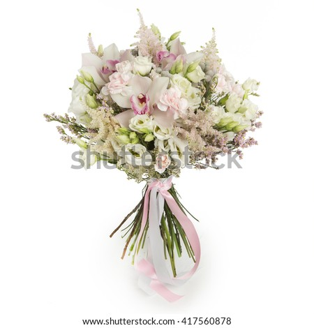 Bouquet of  roses, orchids and wild flowers