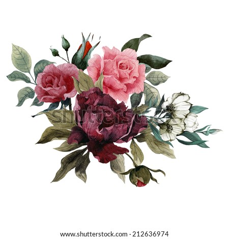 Bouquet of roses, peonies and eustoma, watercolor, can be used as greeting card, invitation card for wedding, birthday and other holiday and  summer background - stock photo