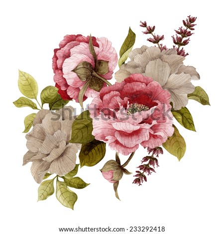 Bouquet of roses, peonies and lavender, watercolor, can be used as greeting card, invitation card for wedding, birthday and other holiday and  summer background  - stock photo