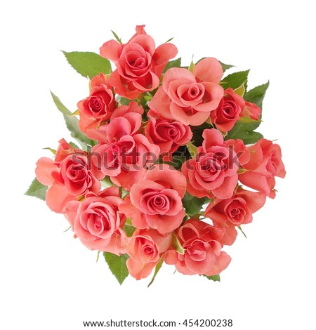 Bouquet of roses top view isolated on white.  - stock photo