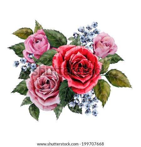 Bouquet of roses, watercolor, can be used as greeting card, invitation card for wedding, birthday and other holiday and  summer background - stock photo