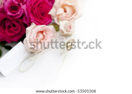 Bouquet of roses weeding rings