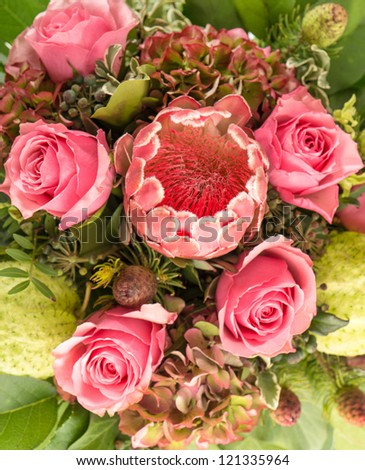 bouquet of roses with pink exotic flower protea and green foliage - stock photo