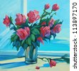bouquet of scarlet roses at  open window with a view of the sea, painting,  illustration - stock photo
