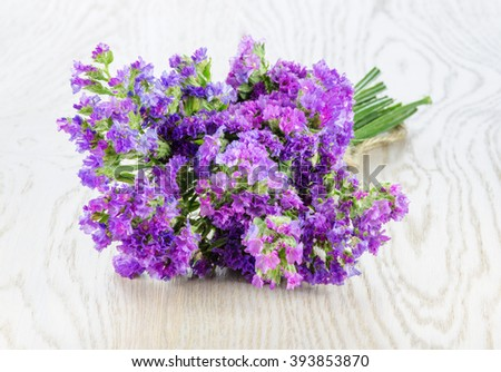 Bouquet of small violet flowers . Provence mood. - stock photo