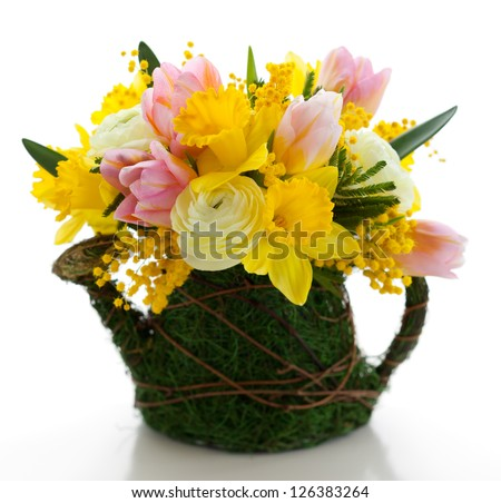bouquet of spring flowers for Easter - stock photo