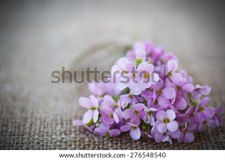 bouquet of spring flowers on the table of burlap - stock photo