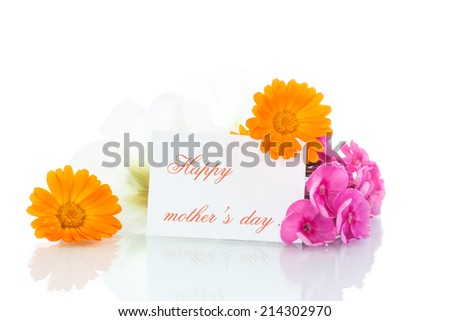 bouquet of summer flowers on a white background - stock photo