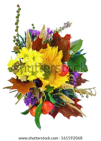 Bouquet of sunflowers and gerbera flowers isolated on white background. Closeup. - stock photo