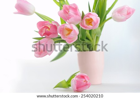 Bouquet of the fresh pink tulips in vase - stock photo
