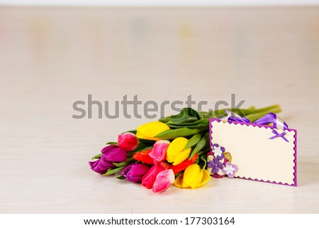 bouquet of tulips. card for congratulations, March 8, Mother's Day - stock photo