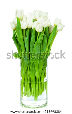 Bouquet of tulips in the vase on white background - stock photo