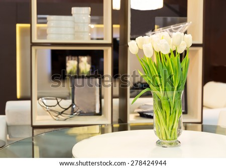 Bouquet of tulips on the table