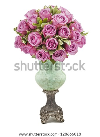 bouquet of violet roses in vase isolated on white - stock photo