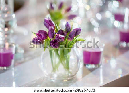 Bouquet of violet tulips in vase on the white table  - stock photo