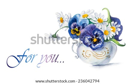 Bouquet of  violets. Flowers background, watercolor composition. Decoration with blooming violets, hand-drawing. Illustration. - stock photo