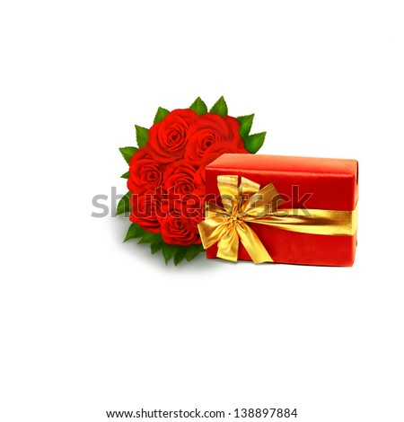 bouquet of vivid red roses with red gift box on a white background with copy space