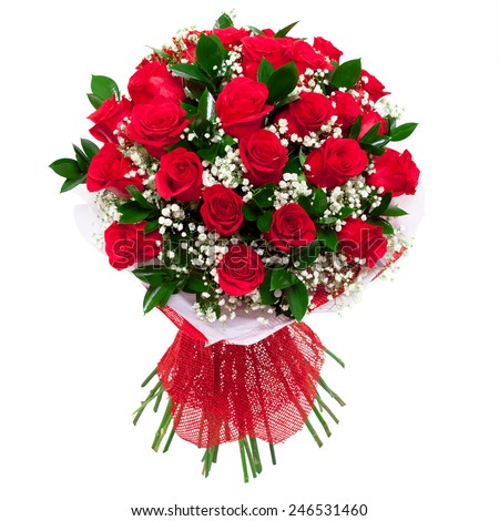 Bouquet of vivid saturated red roses. A present for a woman for birthday, valentine's day or a wedding. Isolated on white. Stock image - stock photo