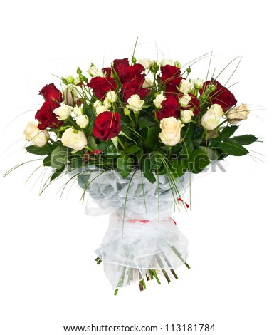 bouquet of white and red roses isolated on white - stock photo