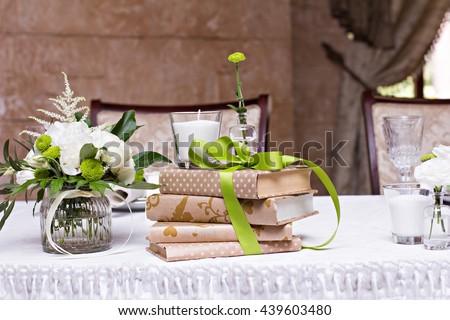 bouquet of white flowers. wedding table decor. festive table setting. festive table decoration. - stock photo
