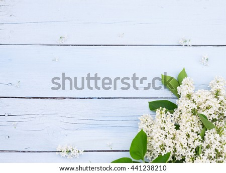 Bouquet of White lilacs flowers on a light blue shabby wooden background. Vintage floral background with spring flowers. Copy space - stock photo