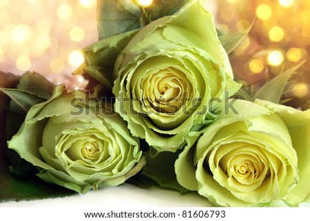 Bouquet of white roses on a bright background - stock photo