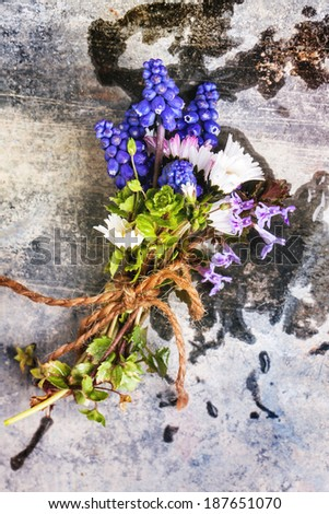 Bouquet of wildflowers over old metal background. Top view