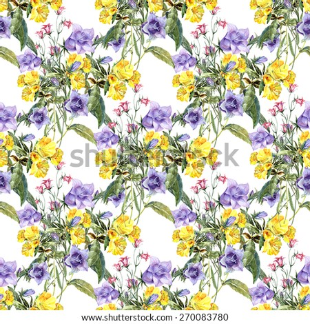 Bouquet of wildflowers, watercolor, pattern seamless