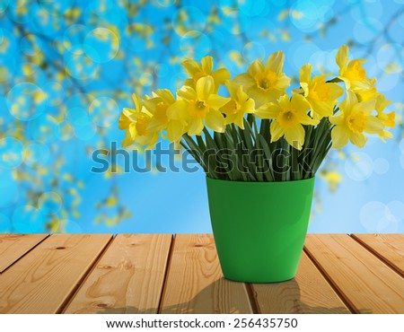 Bouquet of yellow daffodils in the sunlight in a green flowerpot on nature background on the table of the old wooden boards - stock photo
