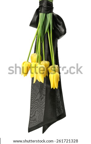 bouquet of yellow flowers for funeral isolated on a white background - stock photo