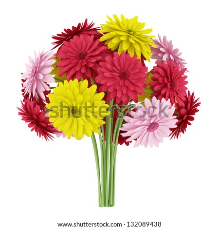 bouquet of yellow red and pink flowers isolated on white background - stock photo