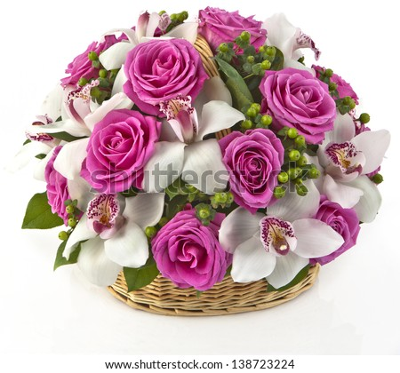 bouquet of yellow roses in basket  on white background - stock photo