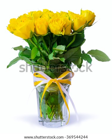 Bouquet of yellow roses on white. - stock photo