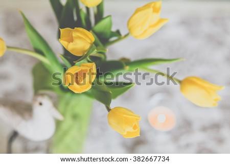 Bouquet of yellow tulip flowers, closeup - stock photo