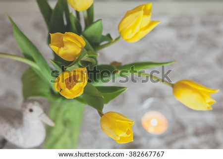 Bouquet of yellow tulip flowers, closeup